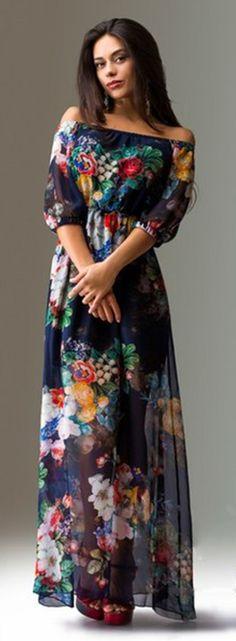 Off Shoulder 3/4 Sleeves Floral Long Chiffon Dress