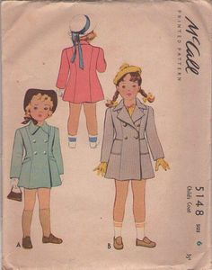 MOMSPatterns Vintage Sewing Patterns - McCall's 5148 Vintage 40's Sewing Pattern SHARP Girls Fit & Flared Panel Coat, Double Breasted Winter Jacket Size 6
