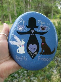 Parent/Pet Stone and/or Pet Memorial Stone by MarciaStewartArt Stone In Love, Rip Dog, Earth Craft, Stone Painting, Rock Painting, Pet Memorial Stones, Kindness Rocks, Pet Memorials, Animal Tattoos