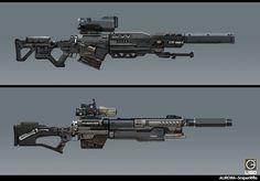 sniper rifle  Design for the  RISING FIRE, Jay Li on ArtStation at https://www.artstation.com/artwork/4d011