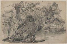 'Landschaft mit Felsformationen und Bach', wasserfarbe von William Trost Richards (1833-1905, United States)
