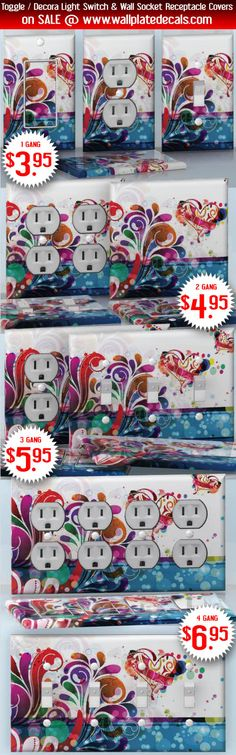 DIY Do It Yourself Home Decor - Easy to apply wall plate wraps | Flower Love  Abstract hearts with flowers  wallplate skin stickers for single, double, triple and quadruple Toggle and Decora Light Switches, Wall Socket Duplex Receptacles, and blank decals without inside cuts for special outlets | On SALE now only $3.95 - $6.95