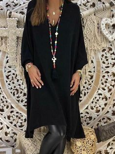 674c354f4a8 Black Irregular V-neck Long Sleeve Midi Dress