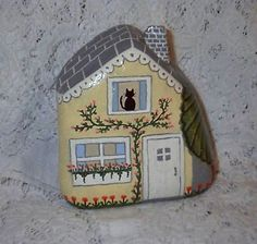 Rock Painting~ Yellow Rock Fairy Houses