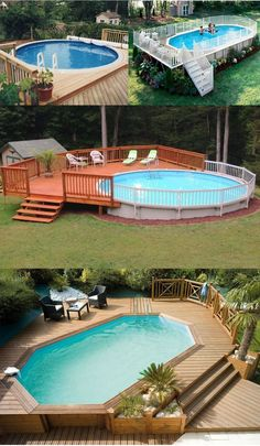 15 Above-Ground and In-Ground Pool Deck Ideas 15 Above-Ground and In-Ground Pool Deck Ideas above ground pool ideas for my backyard<br> Above Ground Pool Landscaping, Small Backyard Pools, Backyard Pool Landscaping, Landscaping Ideas, Small Pools, Small Backyards, Above Ground Swimming Pools, Swimming Pools Backyard, In Ground Pools