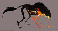 the Burning Beast. Constantly in pain, it's flesh is burned away almost as soon as it reforms. Driven to continue living by a cruel master.