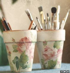 Decoupaged pots.. if for outdoor use Outdoor Mod Podge