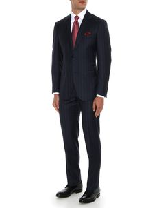 a25d3f9e5c29 Dark blue pure wool Venezia suit with macro chalkstripes on Prince of Wales  check