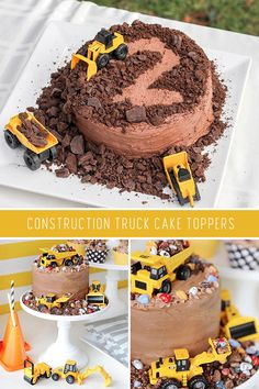 Get Creative Construction Cake Toppers Dump Truck Cakes, Truck Birthday Cakes, 1st Boy Birthday, Birthday Cakes For Boys, Digger Birthday Cake, Dump Truck Party, Creative Birthday Cakes, 1st Birthday Themes, Birthday Banners