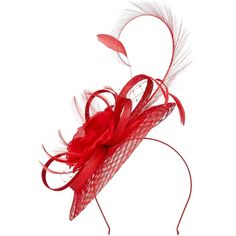 Jacques Vert Woven Flower Fascinator ($50) ❤ liked on Polyvore featuring accessories, hair accessories, red, sale, jacques vert fascinators, red fascinator hat, flower hair accessories, fascinator hat and red hair accessories
