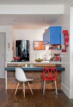 Ideia para espaços reduzidos, mas, funcional e bonito.