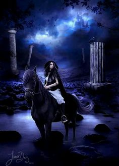 Gothic fantasy woman on horse