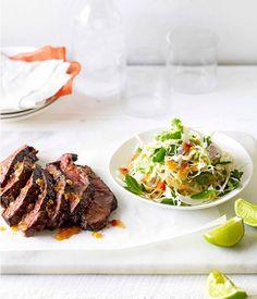 Australian Gourmet Traveller recipe for char-grilled skirt steak with Asian cabbage slaw.