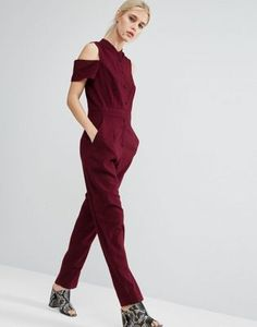 ASOS Collarless Jumpsuit with Shirt Detail