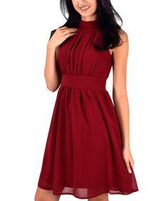 Look at this #zulilyfind! Burgundy Chiffon Mock-Neck Fit & Flare Dress #zulilyfinds