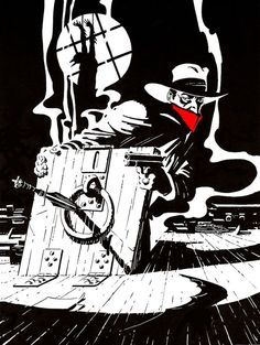 Steranko black, white and red Shadow art