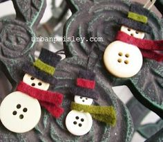 Button Snowmen - cute gift toppers or ornaments