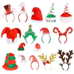 6 Pack Of Christmas Santa Elf Reindeer Xmas Hat/ Headband Accessory Preview