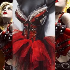 Harley Quinn Outfit Bra/ Underbust Corset/ por RichMahoganyLife