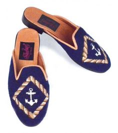 This classic nautical design features a white anchor inside a tan rope border on a navy blue background trimmed in tan leather. A great mule to wear a Sewing Leather, Tan Leather, Clogs Shoes, Flats, Nautical Favors, Nautical Design, Navy Blue Background, Hand Stitching, Needlepoint