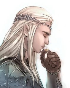 I imagine Thorin gave his ring to Thranduil before the battle,but didn't survive. Thorinduil by drchopper7