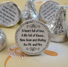 Mr. and Mrs. Kisses Stickers Personalized Wedding Hershey Labels.