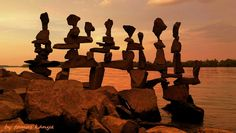 Stone balance in the sunset(Hungary)by tamas kanya