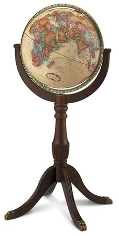 For a world globe with a touch of class, sophistication and old world charm, choose the Sherbrooke II 16-inch Antique Ocean Floor Standing World Globe by Replogle. This gorgeous globe features decorative cartouches, ornate compass roses and a cherry finished solid wood stand with brass claw feet. #reploglefloorglobes #replogleilluminatedglobes #replogledesktopglobes #replogletabletopglobes