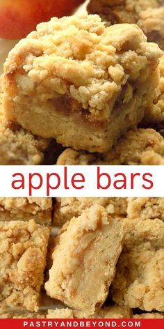 Apple Pie Bars Recipe-This delicious apple pie bars recipe with crumb topping is crunchy and soft. You& use the same shortbread dough for the crust and the crumbles to make these easy and from scratch apple pie bars. Green Apple Pie Recipe, Apple Crisp Bars Recipe, Apple Pie Bars, Apple Pie Recipe Easy, Easy Pie Recipes, Apple Crisp Recipes, Apple Dessert Recipes, Homemade Apple Pies, Apple Pie Cookies