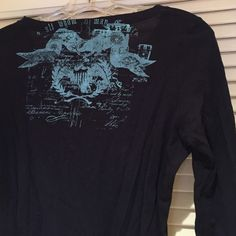 Banana Republic long sleeve Navy blue long sleeve with light blue print on the front top left and on the back across the top. Good condition. Very comfortable and soft Banana Republic Tops Tees - Long Sleeve