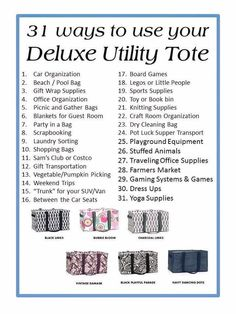 31 uses for Deluxe Utility Tote