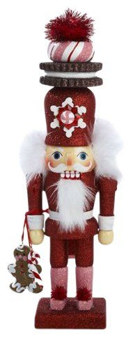 """Kurt Adler Hollywood Red Gingerbread Nutcracker w/ Cookie Hat 12"""" 
