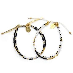 Azuni London 24ct Gold Plated Set of 2 Beaded Friendship Bracelets