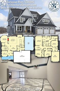 House Goals Luxury Floor Plans Ideas For 2019 Two Story House Plans, Dream House Plans, House Floor Plans, Luxury Floor Plans, Villa, House Blueprints, Craftsman House Plans, Sims House, Interior Exterior