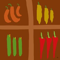 Peppers 2 Painting Print on Wrapped Canvas