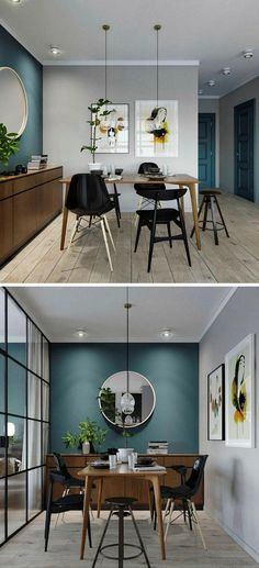 Trendy home style loft dining rooms 18 ideas Blue Accent Walls, Bedroom Design, Living Room Decor, Home Decor, Living Room Interior, House Interior, Interior Design Living Room, Interior Design, Teal Accent Walls