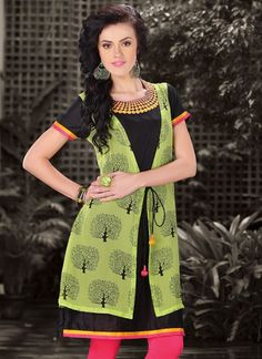 Stylish Black And Lime Green Faux Georgette Designer Readymade Kurti
