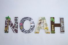 """Jungle Nursery Custom Wall Letters, """"Welcome to the Jungle"""" Toddlers Kids Room Decor, Animal Prints ,Animals, Personalized Baby Shower Gift"""
