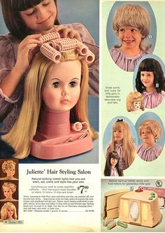Putting wigs on dolls must have been the thing to do during the mid-60′s. I can understand the benefits of early cosmetology training for your kid, but what mother in her right mind would allow her child to plunk one of those horrors on her own innocent little head? That first one looks like the love child of Kate Gosselin and Carol Brady.