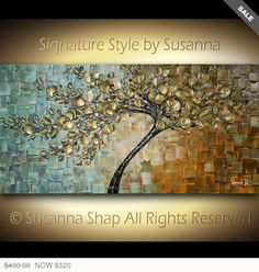 ORIGINAL Large Contemporary Textured Tree Painting Modern Palette Knife Cherry Blossom by Susanna Ready to Hang Gallery Canvas 48x24