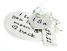 I love you to the moon and back necklace - personalized hand stamped jewelry. $60.00, via Etsy.