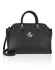 "PHILIPP PLEIN TOP HANDLE 300 ""WINDY"". #philippplein #bags #leather #hand bags #polyester #lining #"