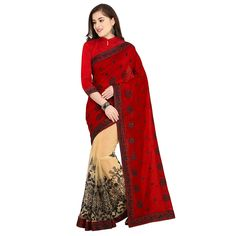 1691215a6bc03 Womanista Art Silk Saree with Blouse Piece (FS9585 Red and Beige One Size)   Amazon.in  Clothing   Accessories