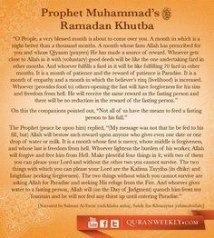 """""""Khutba of Ramadan by Prophet Muhammad (peace be upon him). Islamic Qoutes, Islamic Teachings, Islamic Dua, Islam Muslim, Islam Quran, Fasting Ramadan, La Ilaha Illallah, All About Islam, Learn Islam"""