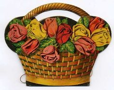 Paper NEEDLE BOOK Roses BASKET Art Deco