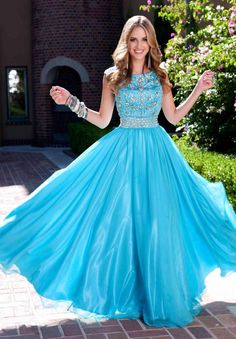 Popular Blue Modest Prom Dresses with Scoop Neck Crystal Beads 2015 New Designer Cheap Summer Long Women Evening Gowns Online with $160.21/Piece on Ilovewedding's Store | DHgate.com