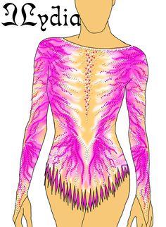 Competition Rhythmic gymnastic leotard design Phoenix rose