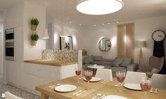Kuchnia styl Skandynawski - zdjęcie od Grafika i Projekt architektura wnętrz - Kuchnia - Styl Skandynawski - Grafika i Projekt  architektura wnętrz Small Apartments, Small Spaces, Kitchen Interior, Dining Table, Contemporary, Living Room, House, Furniture, Interiors