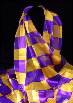Checked Scarf ~ Purple and Yellow