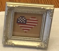 I Cross stitched this American heart... stitched this April 2017...